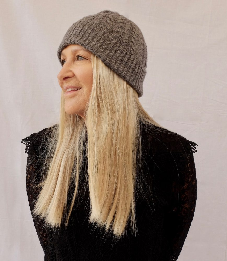 Barbara wears The Beanie in Cool Blonde.